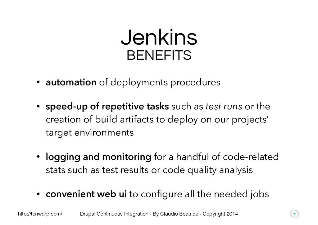 Jenkins • automation of deployments procedures ...