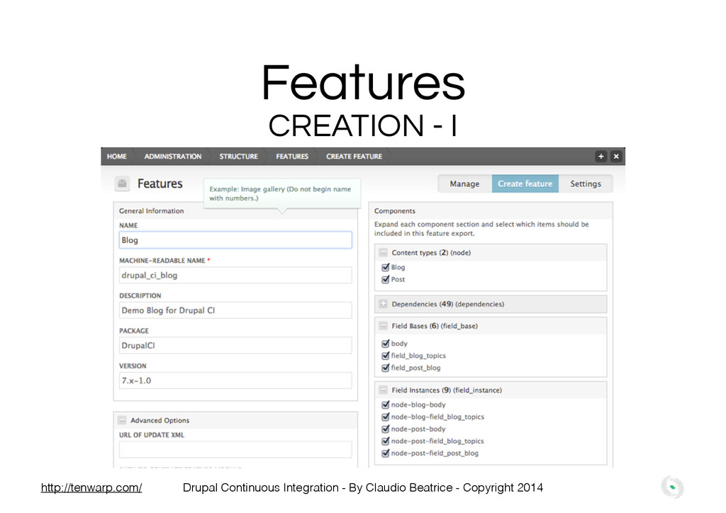 Features CREATION - I Drupal Continuous Integra...