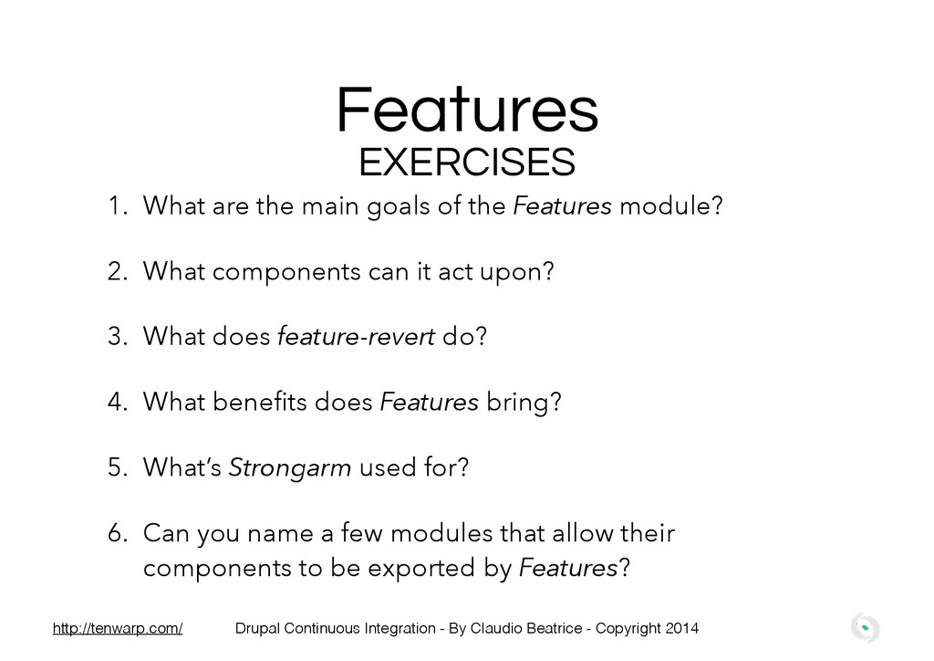 Features EXERCISES 1. What are the main goals o...
