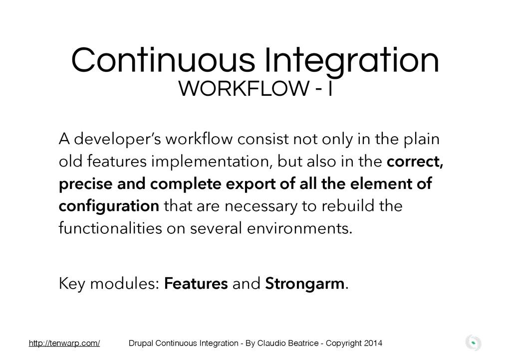 Continuous Integration WORKFLOW - I A developer...