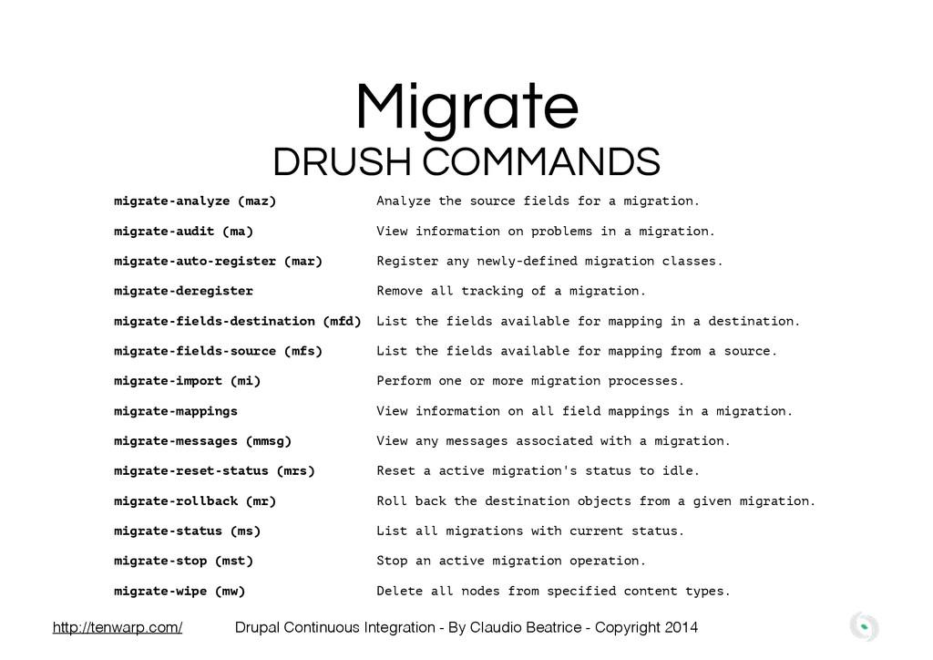 Migrate migrate-analyze (maz) Analyze the sourc...
