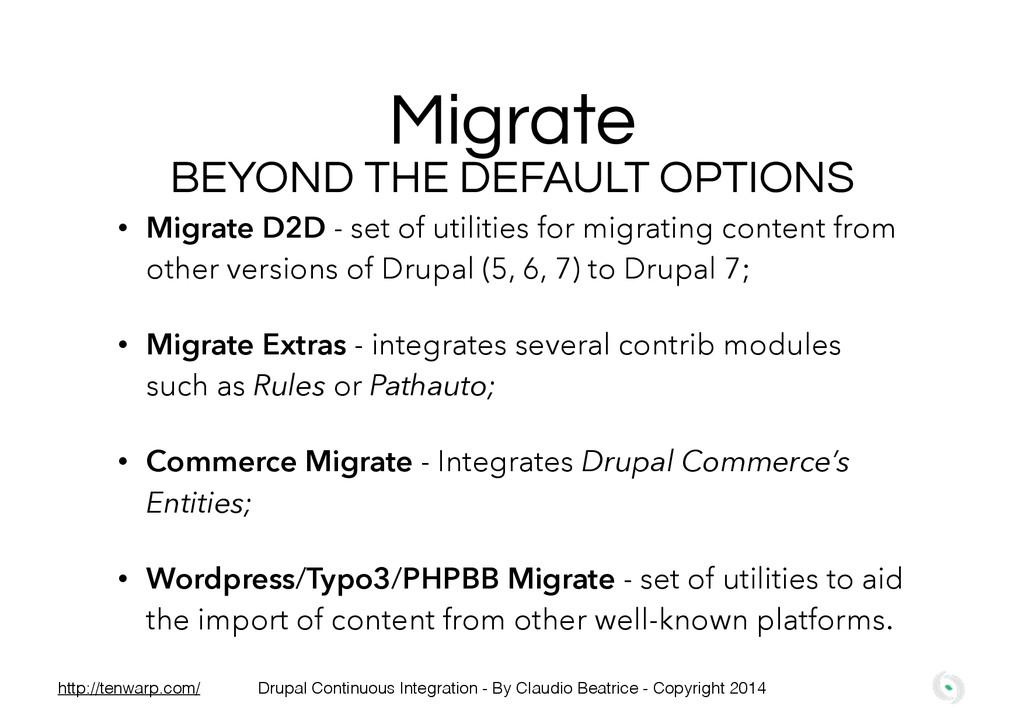 Migrate • Migrate D2D - set of utilities for mi...