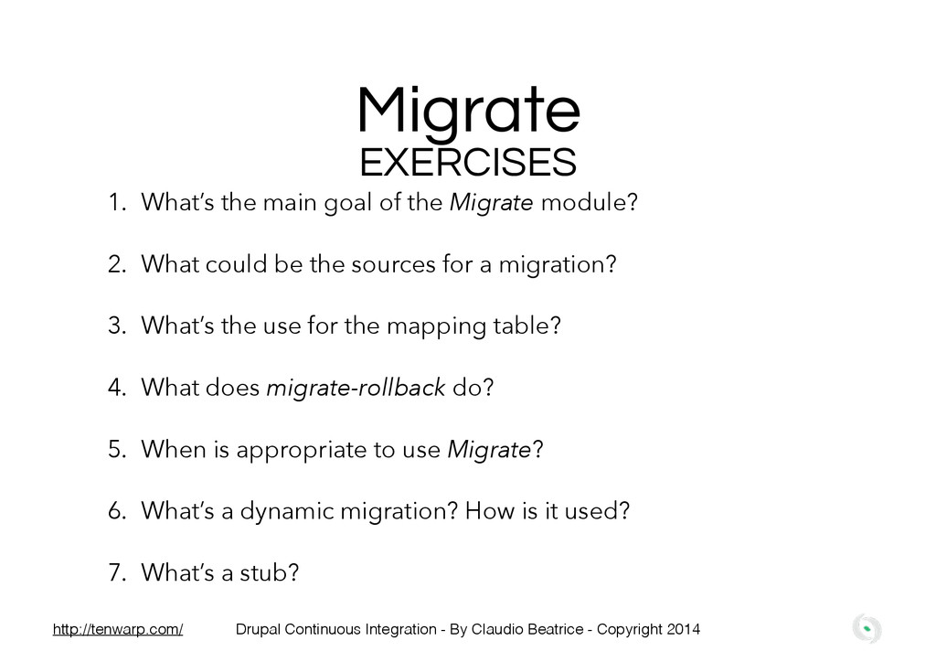 Migrate EXERCISES 1. What's the main goal of th...