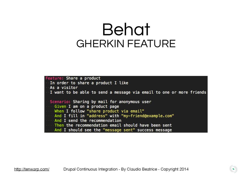 Behat GHERKIN FEATURE Drupal Continuous Integra...