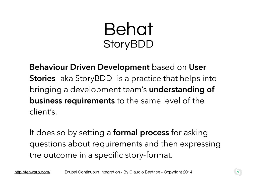 Behat StoryBDD Behaviour Driven Development bas...