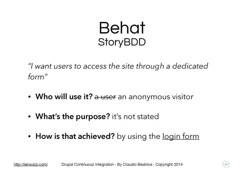 """Behat """"I want users to access the site through ..."""