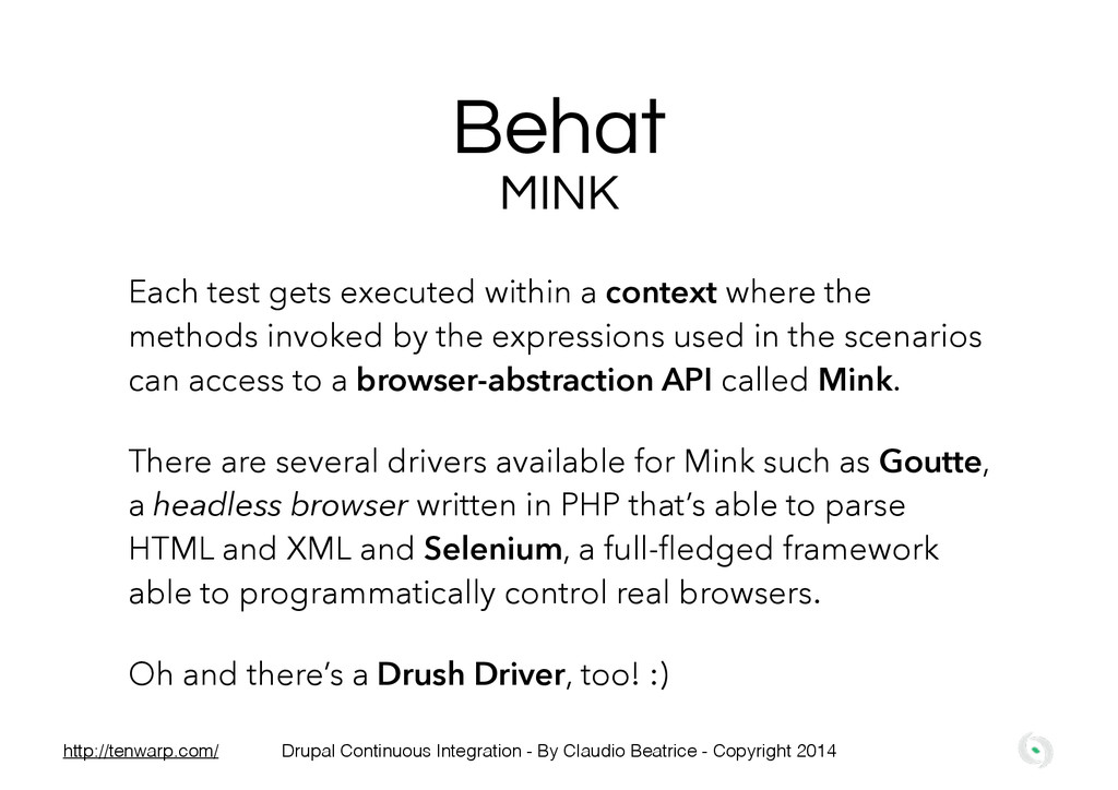 Behat MINK Each test gets executed within a con...