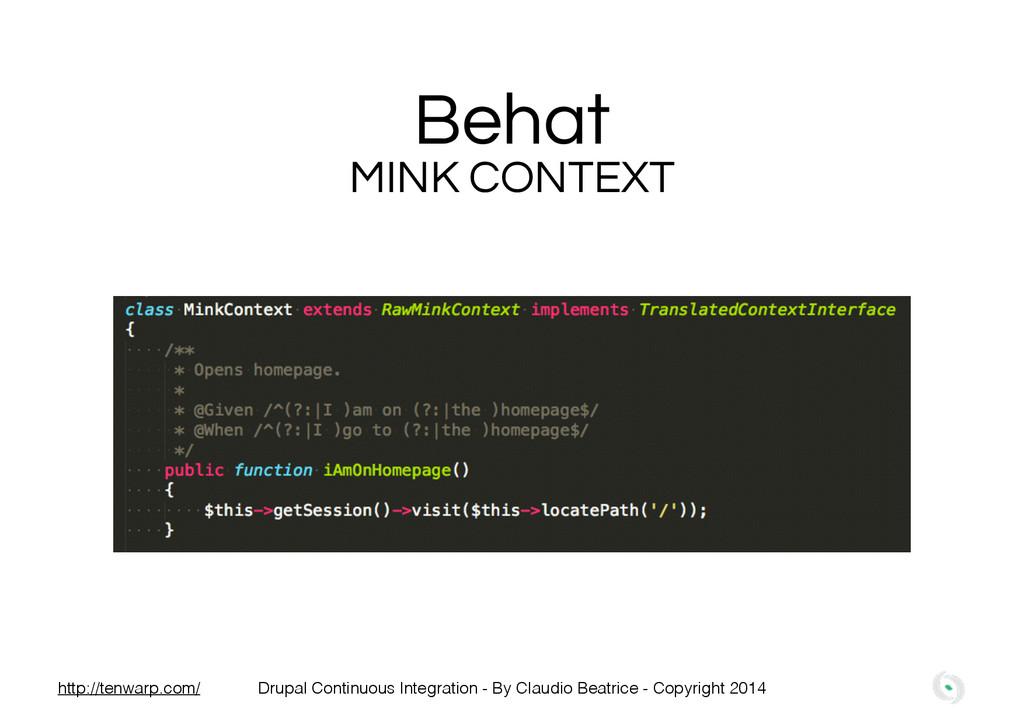 Behat MINK CONTEXT Drupal Continuous Integratio...