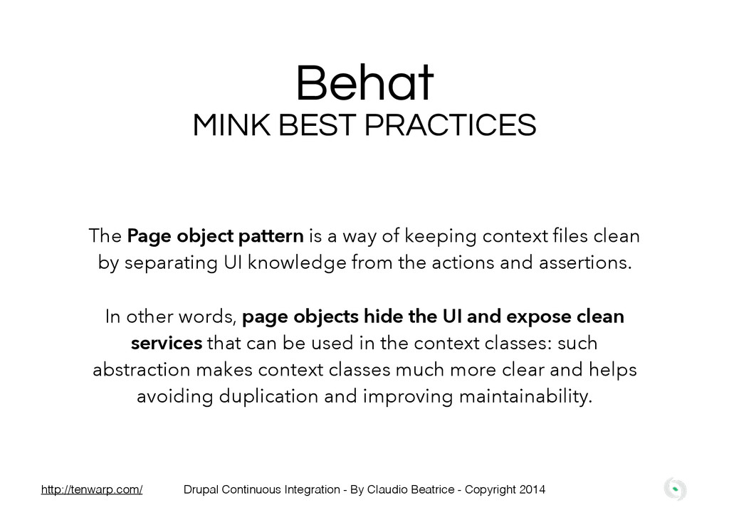 Behat MINK BEST PRACTICES The Page object patte...