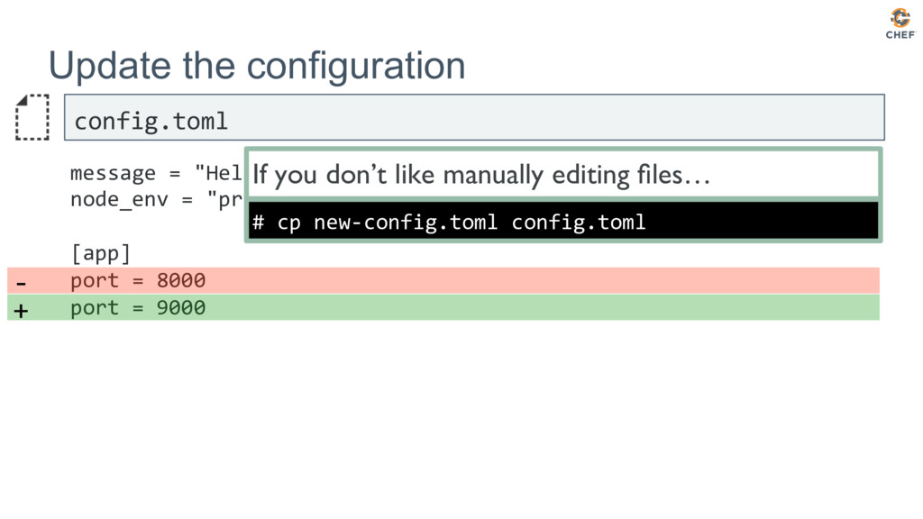 Update the configuration config.toml message = ...