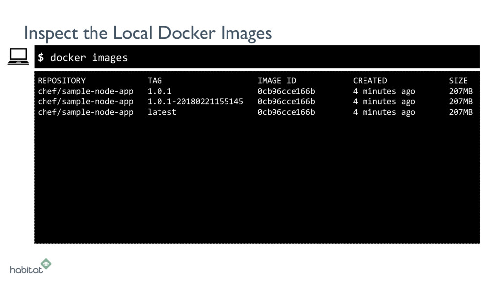 $ REPOSITORY TAG IMAGE ID CREATED SIZE chef/sam...