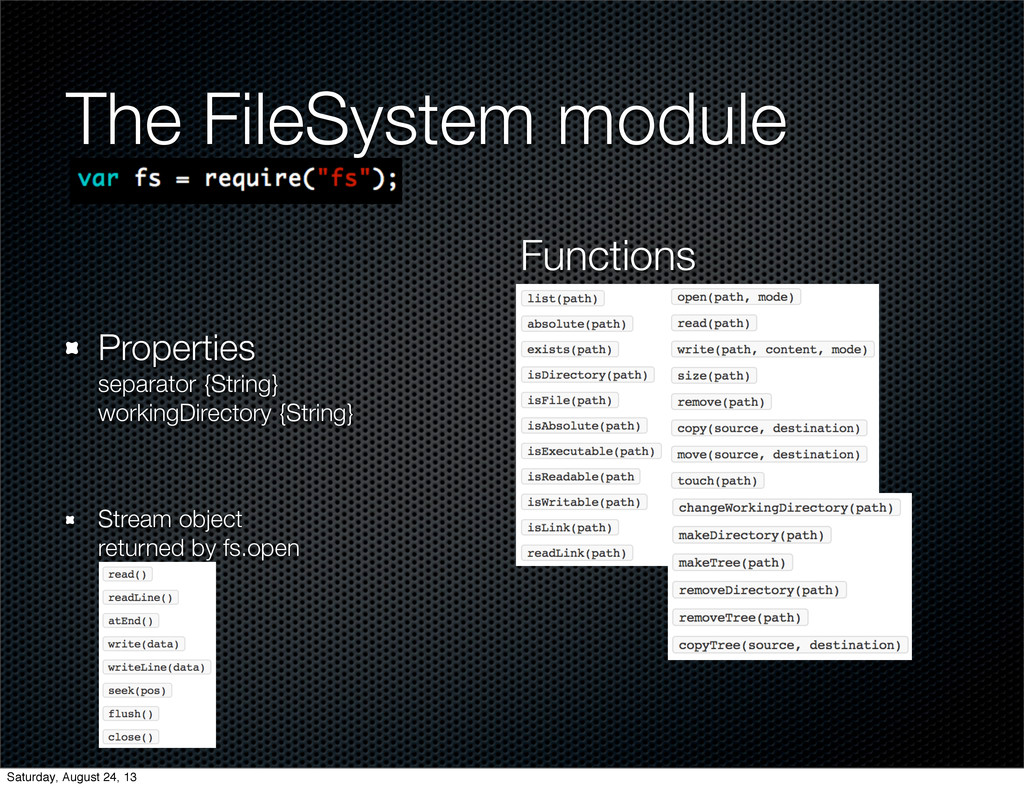 The FileSystem module Properties separator {Str...