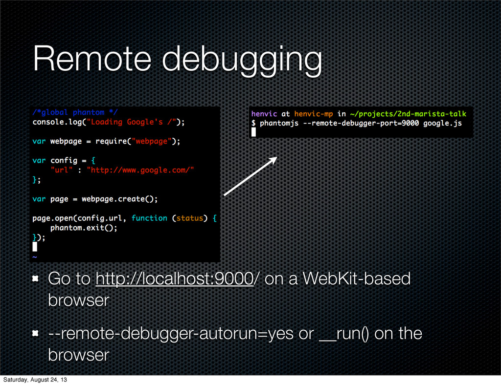 Remote debugging Go to http://localhost:9000/ o...
