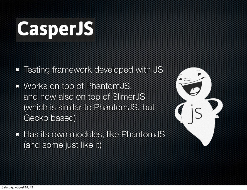 Testing framework developed with JS Works on to...