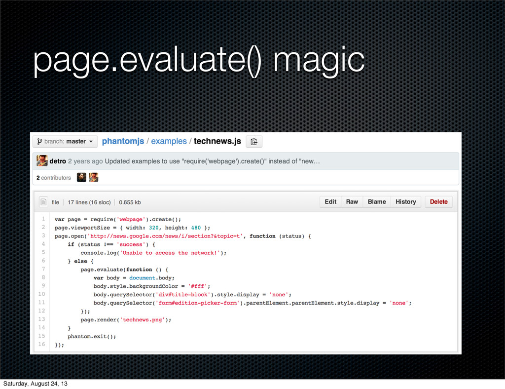 page.evaluate() magic Saturday, August 24, 13