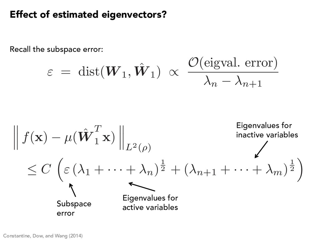 Subspace error Eigenvalues for active variables...