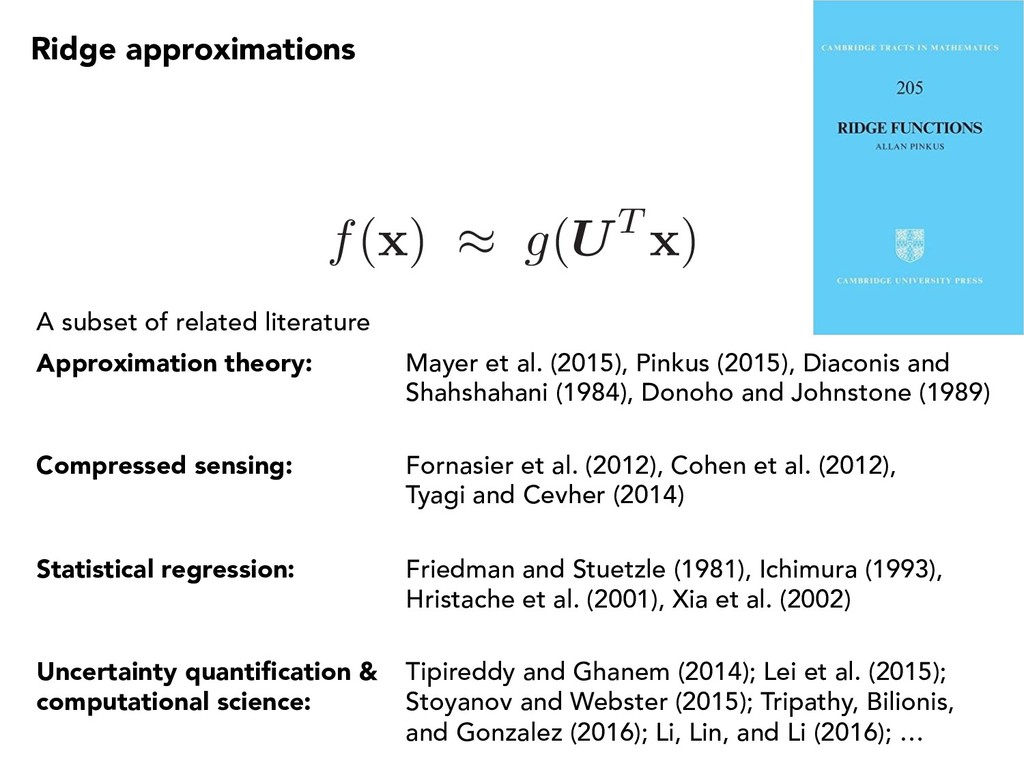 Ridge approximations A subset of related litera...