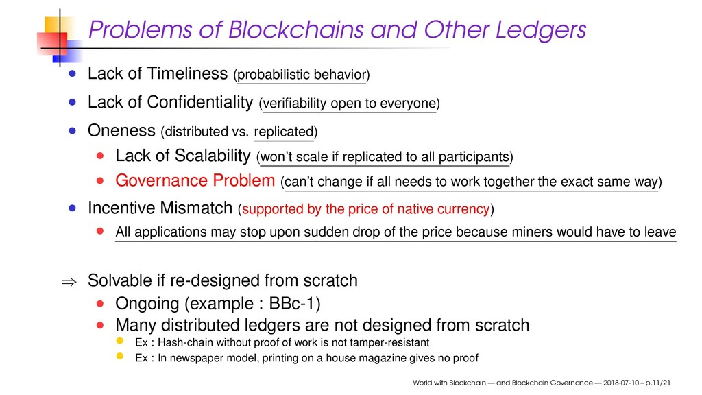 Problems of Blockchains and Other Ledgers Lack ...