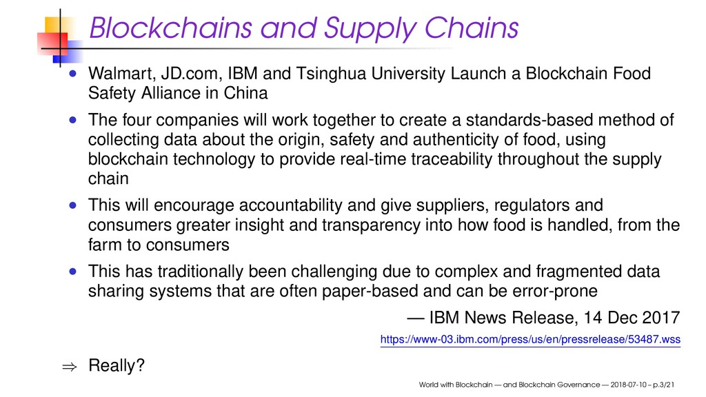 Blockchains and Supply Chains Walmart, JD.com, ...