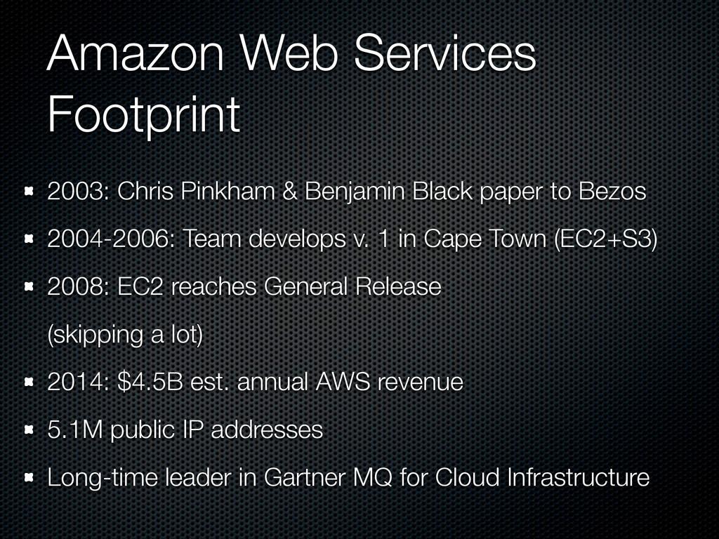 Amazon Web Services Footprint 2003: Chris Pinkh...