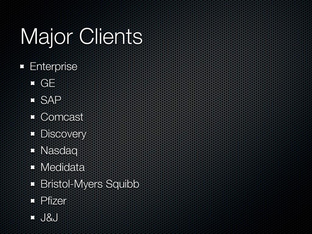 Major Clients Enterprise GE SAP Comcast Discove...