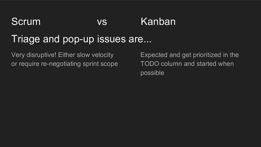 Triage and pop-up issues are... Scrum vs Kanban...