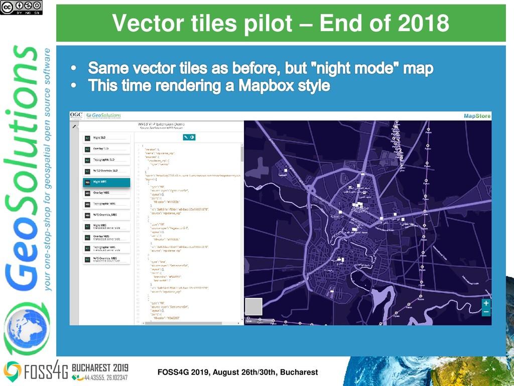 Vector tiles pilot – End of 2018 FOSS4G 2019, A...