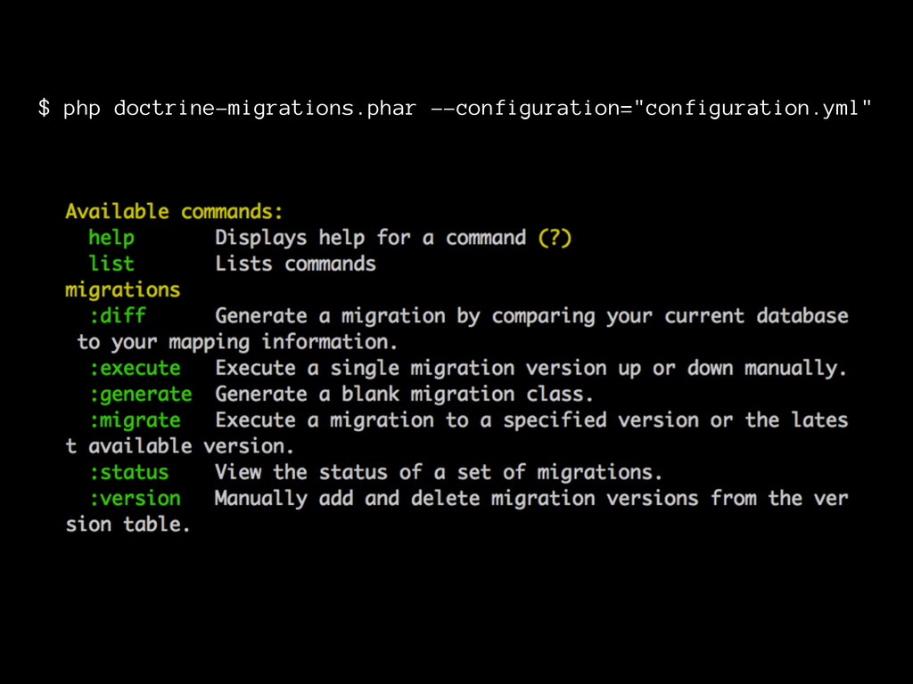 $ php doctrine-migrations.phar --configuration=...
