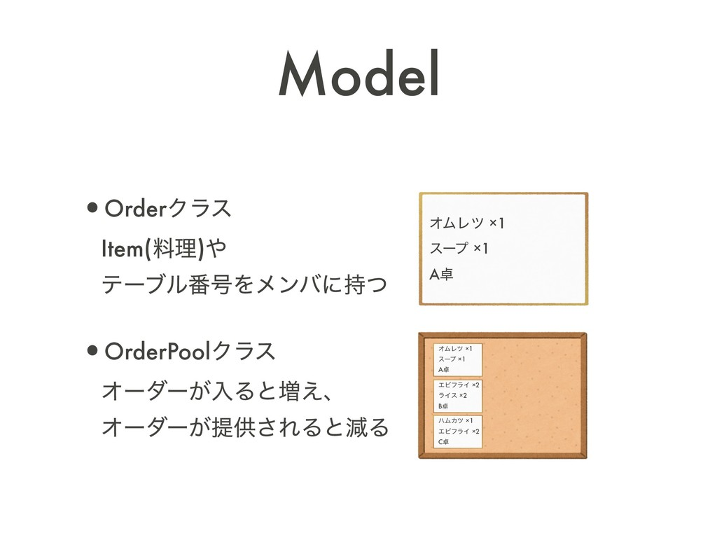 Model •OrderΫϥε Item(ྉཧ) ςʔϒϧ൪߸Λϝϯόʹͭ •Orde...
