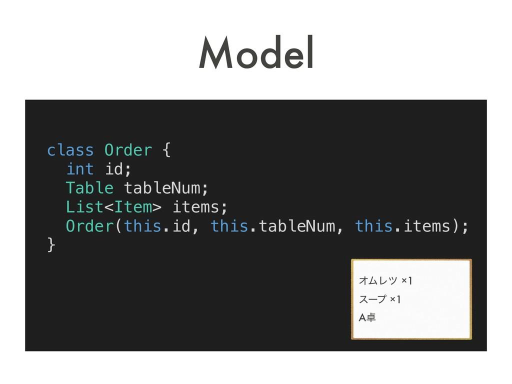 class Order { int id; Table tableNum; List<Item...