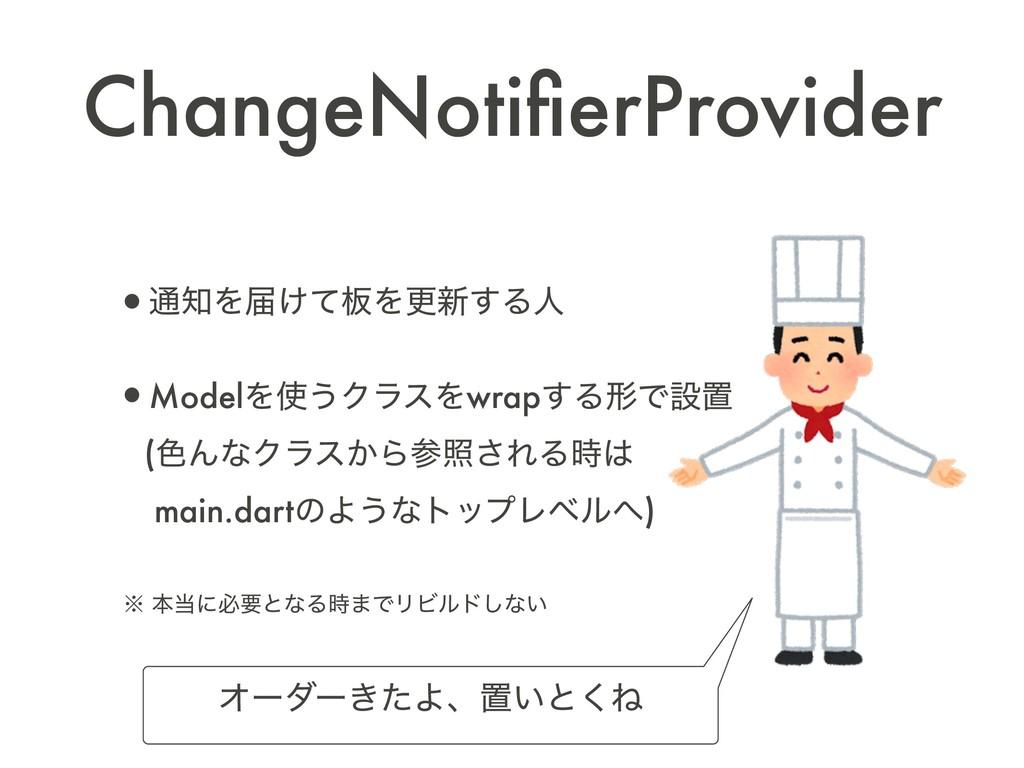 ChangeNotifierProvider •௨Λಧ͚ͯ൘Λߋ৽͢Δਓ •ModelΛ͏Ϋ...
