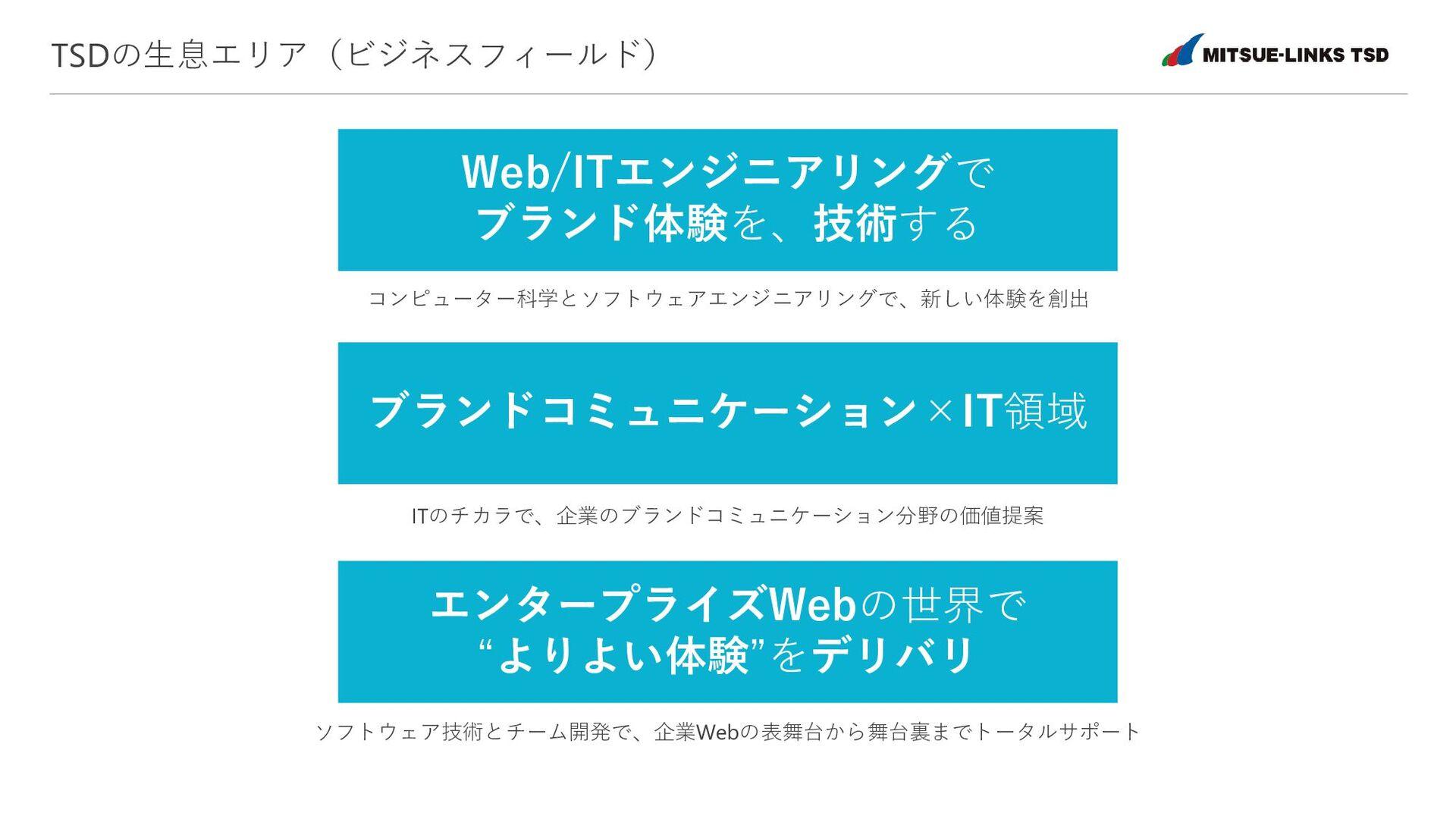 TSDの生息エリア(ビジネスフィールド) Web/ITエンジニアリングで ブランド体験を、技術...