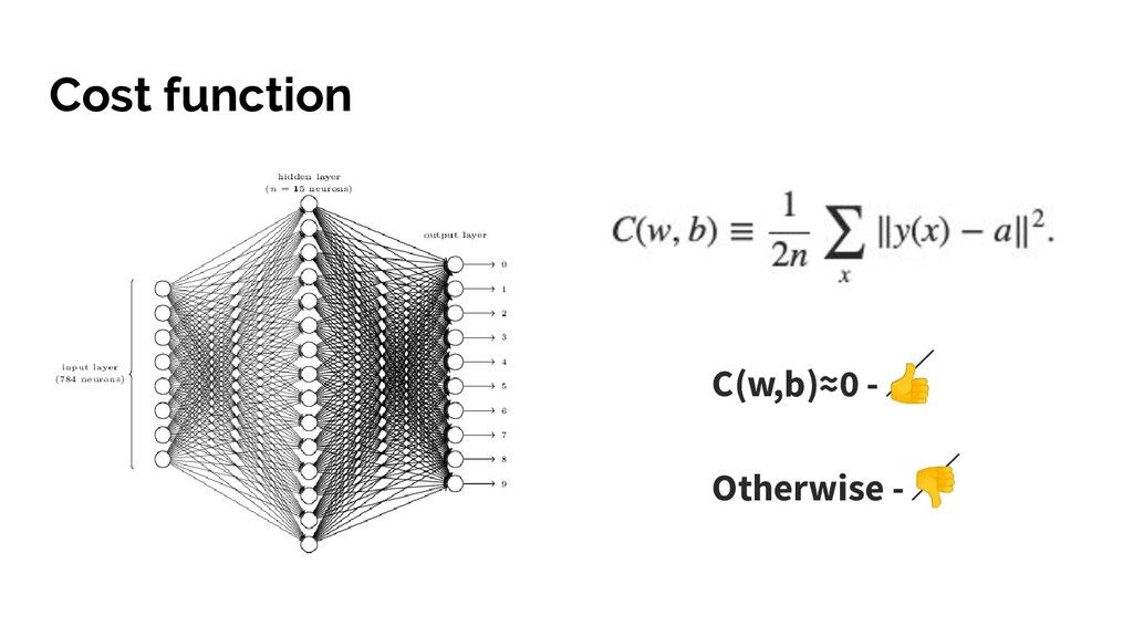 Cost function C(w,b)≈0 -  Otherwise -
