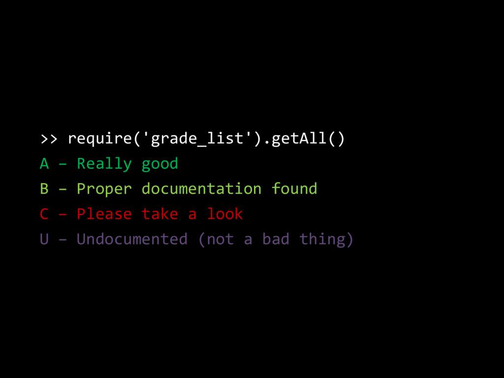 >> require('grade_list').getAll() A – Really go...