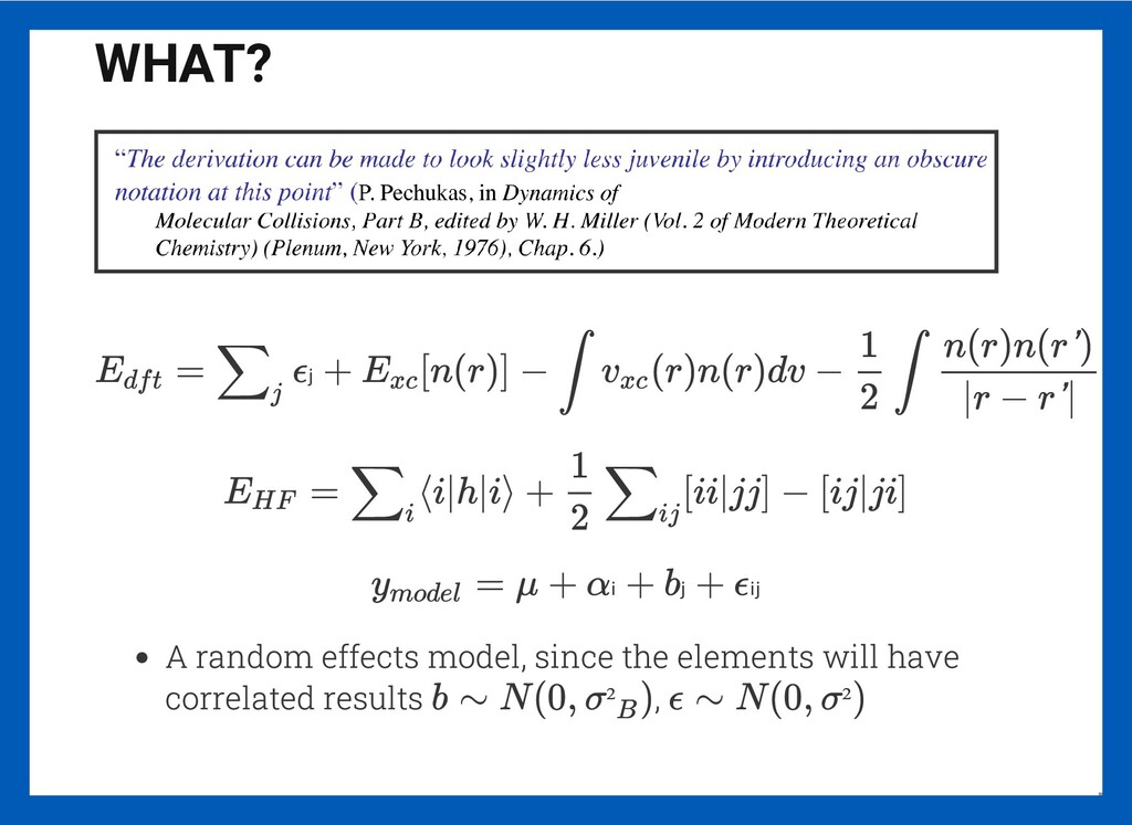 WHAT? A random effects model, since the element...