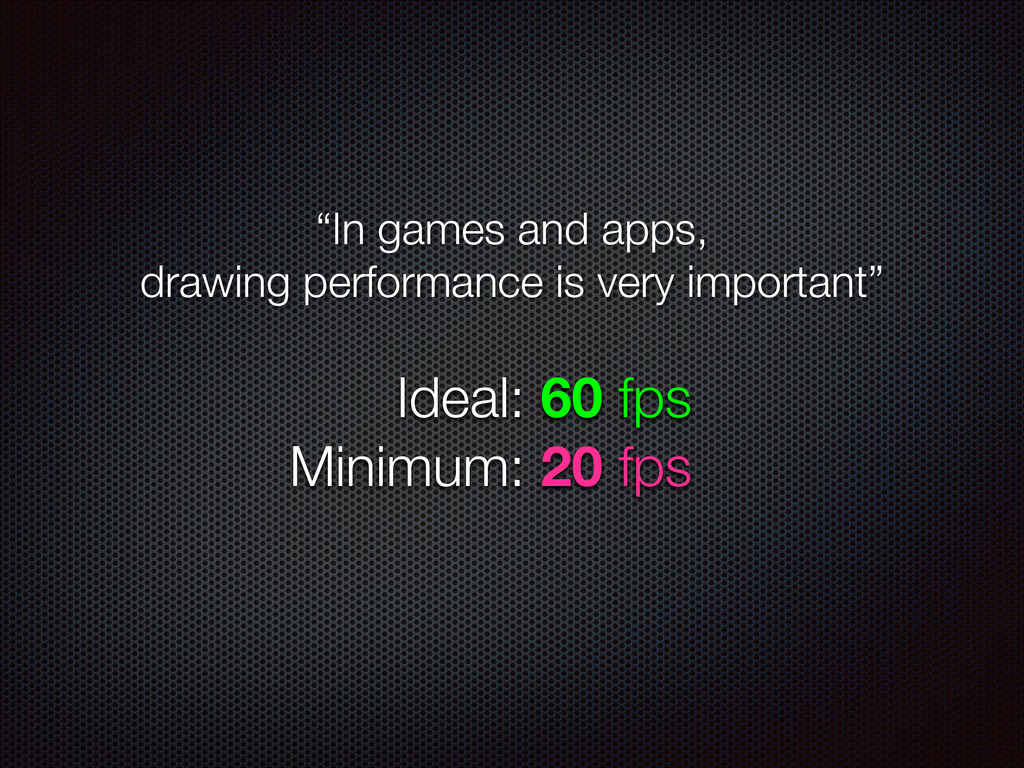"""In games and apps, drawing performance is very..."