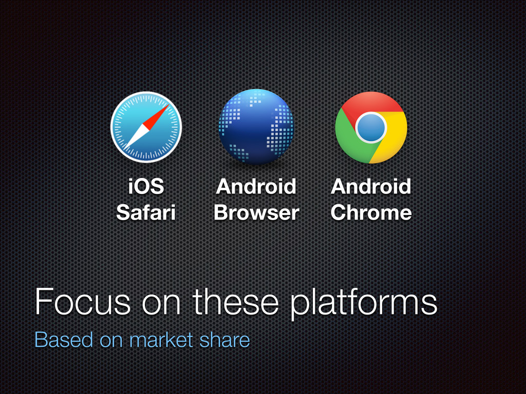 Focus on these platforms Based on market share ...