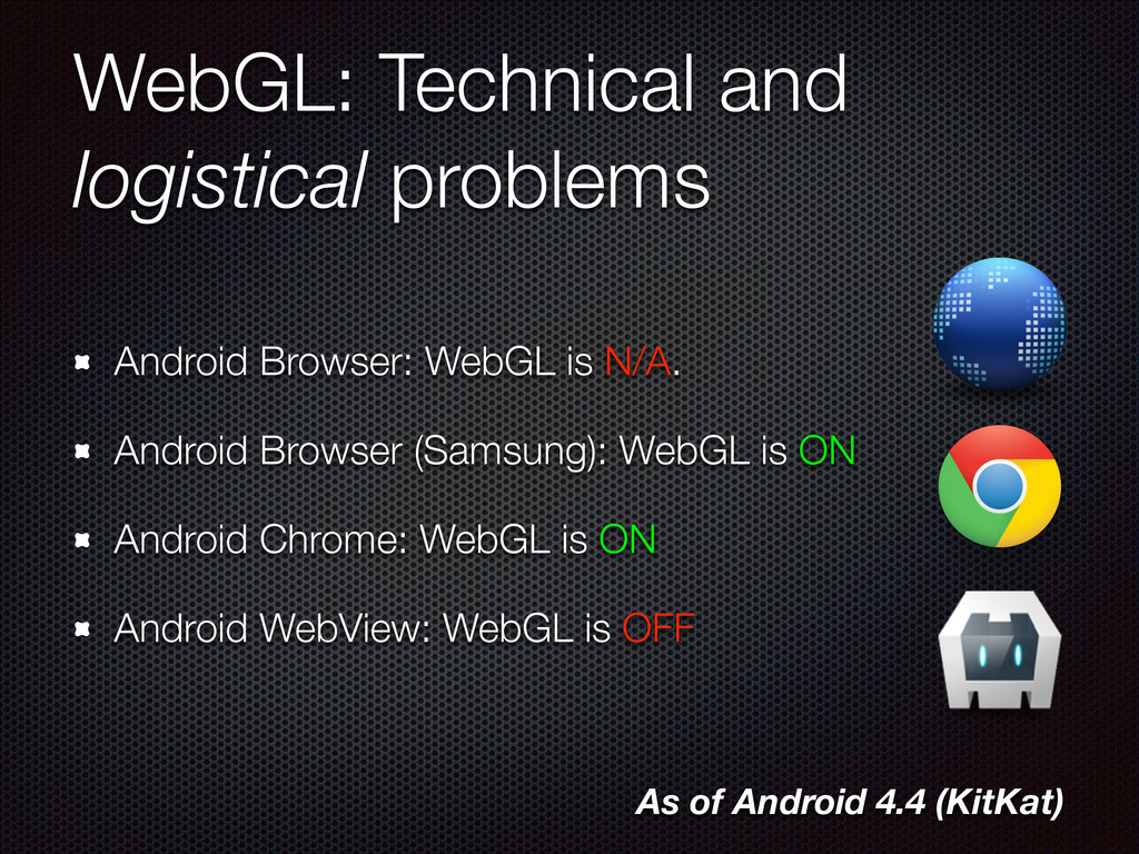 WebGL: Technical and logistical problems Androi...