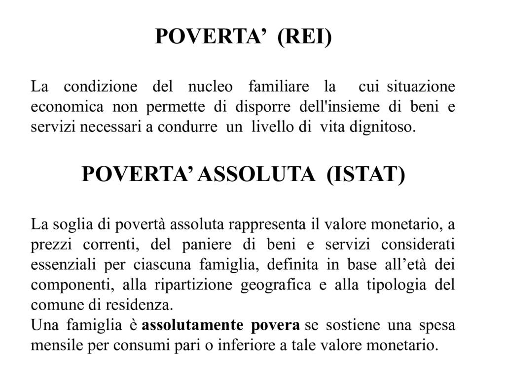 POVERTA' (REI) La condizione del nucleo familia...