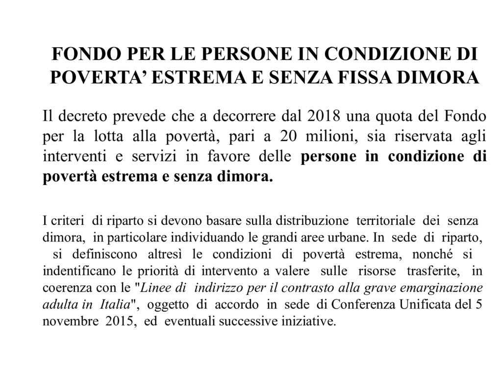 FONDO PER LE PERSONE IN CONDIZIONE DI POVERTA' ...