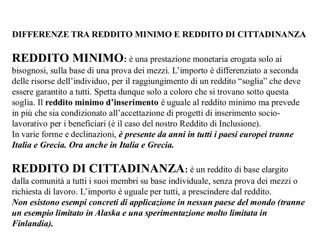 DIFFERENZE TRA REDDITO MINIMO E REDDITO DI CITT...