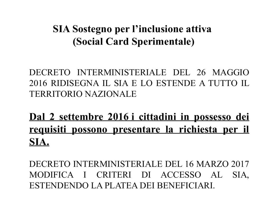 SIA Sostegno per l'inclusione attiva (Social Ca...