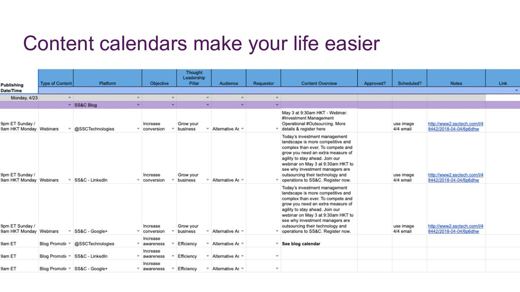 Content calendars make your life easier