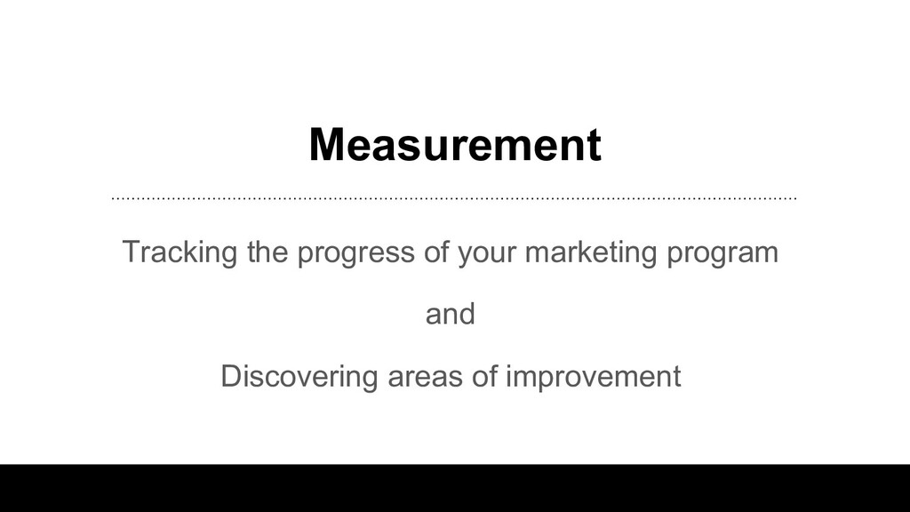 Measurement Tracking the progress of your marke...