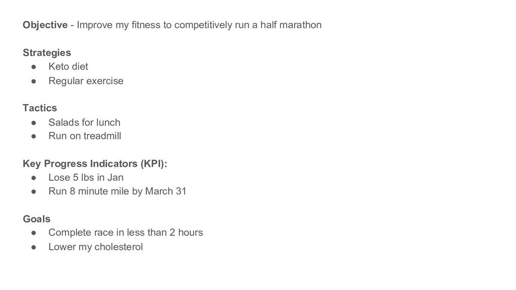 Objective - Improve my fitness to competitively...