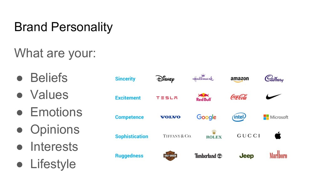 Brand Personality What are your: ● Beliefs ● Va...