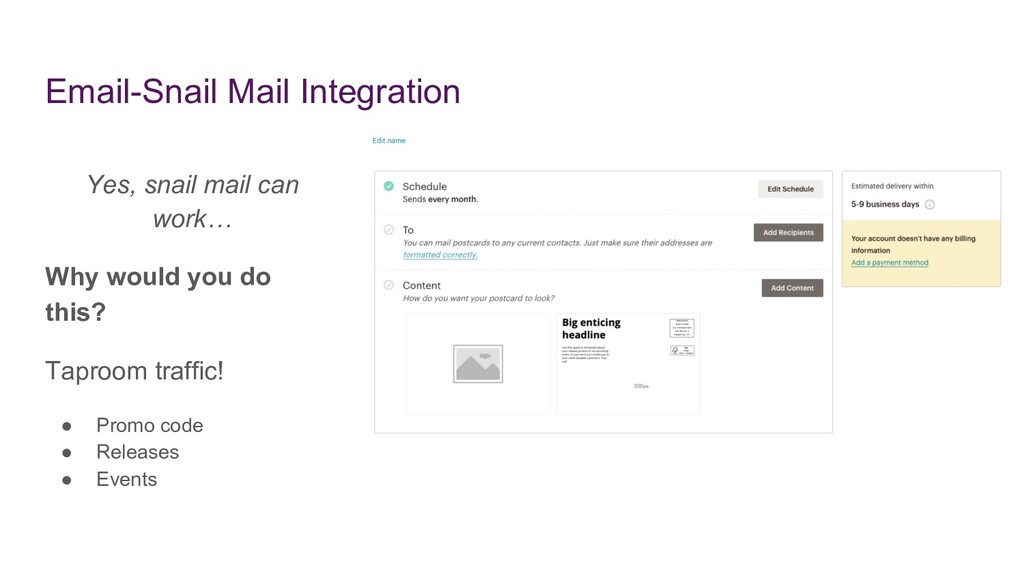 Email-Snail Mail Integration Yes, snail mail ca...