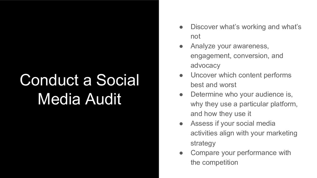 Conduct a Social Media Audit ● Discover what's ...