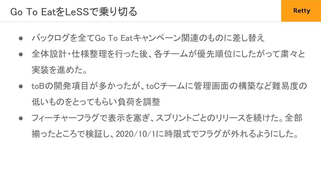 Go To EatをLeSSで乗り切る ● バックログを全てGo To Eatキャンペーン関...