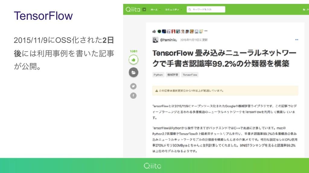 TensorFlow 2015/11/9ʹOSSԽ͞Εͨ2 ޙʹར༻ྫΛॻ͍ͨه ͕ެ...